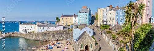 Fototapeta Panoroma of Tenby on a hot summer day, Wales, UK