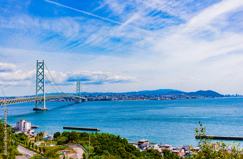 Fototapeta 兵庫県・淡路から見る海峡と神戸