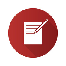 Notepad With Pencil Flat Design Long Shadow Glyph Icon