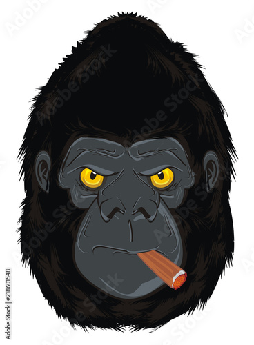 Photo sur Toile Croquis dessinés à la main des animaux gorilla, monkey, animal, zoo, head, illustration, cartoon, evil, evil beast, smoking