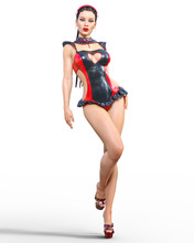 3D Beautiful Sexy Brunette Gir...