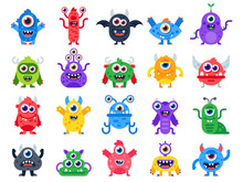 Cartoon Monster. Cute Happy Monsters, Halloween Mascots And Funny Mutant Toys. Scary Creatures Vector Flat Icon Set