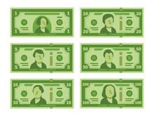 Cartoon Banknote. Dollar Cash,...
