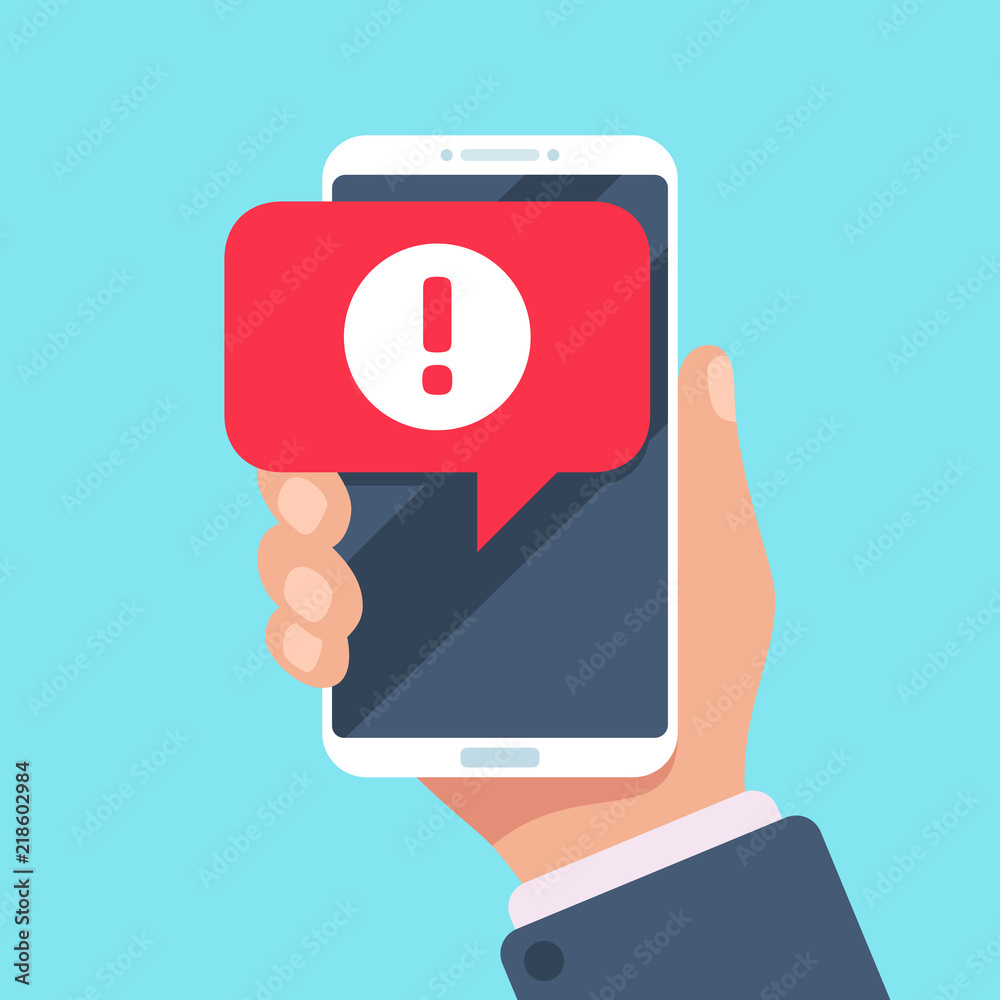 Fototapeta Alert message mobile notification. Danger error alerts, virus problem or spam notifications on phone screen vector illustration