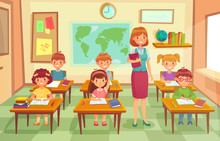Pupils And Teacher In Classroom. School Pedagogue Teach Lesson To Pupil Kids. Schools Lessons At Class Cartoon Vector Illustration