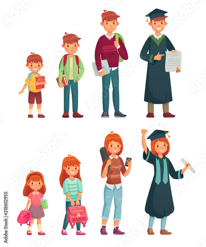 Different Ages Students Primary Pupil Junior High School And College Student Growing Boys And Girls Education Cartoon Vector Set Buy This Stock Vector And Explore Similar Vectors At Adobe Stock