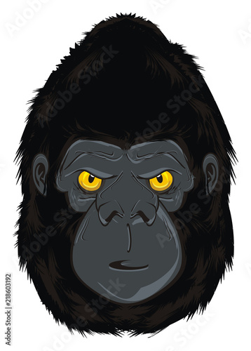 Photo sur Toile Croquis dessinés à la main des animaux gorilla, monkey, animal, zoo, head, illustration, cartoon, evil, evil beast,