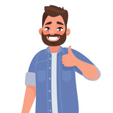 Bearded Happy Man Shows Thumb Up. Gesture Cool