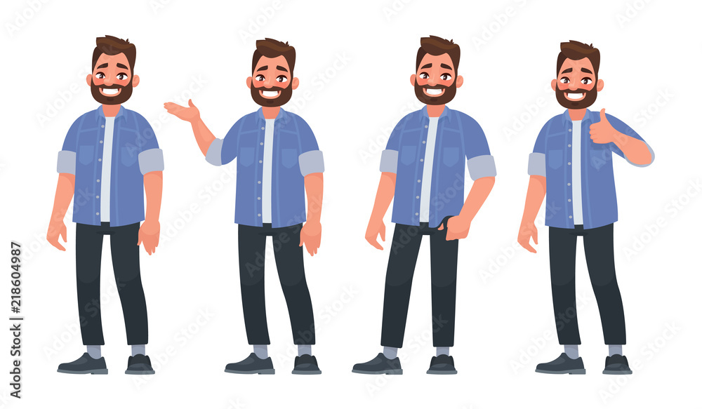 Fototapeta Set of character a handsome bearded man in casual clothes in different poses