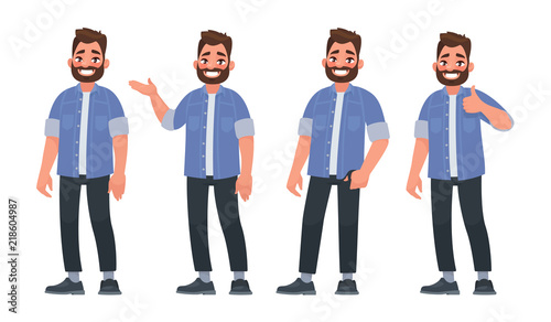 Obraz Set of character a handsome bearded man in casual clothes in different poses - fototapety do salonu