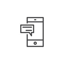 Mobile Chat Outline Icon. Linear Style Sign For Mobile Concept And Web Design. Smartphone With Speech Bubble Message Simple Line Vector Icon. Symbol, Logo Illustration. Pixel Perfect Vector Graphics