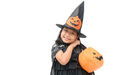 Girl In Witch Costume For Halloween And Pumpkin Jack