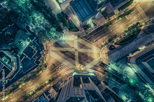 Valokuva  Aerial drone view on city intersection during night