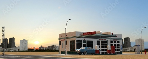 Fotografie, Obraz  old gas station in the desert with city skyline in the background