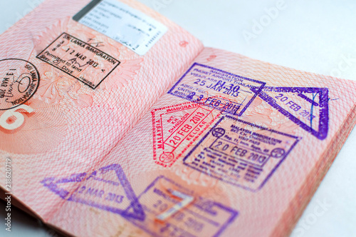 Russian passport stamped on border crossing  Departure and