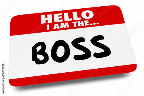 Fotografie, Obraz  Hello I Am the Boss Name Tag Manager 3d Illustration