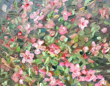 Abstract Background With Blossom Almond. Oil Painting