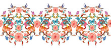 Elegant Seamless Border With Fancy Floral Arabesques And Hummingbirds. Watercolor Painting