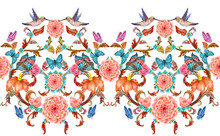 Colorful Seamless Border With Fancy Floral Arabesques And Hummingbirds. Watercolor Painting