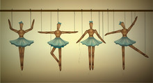 Ballerinas Concept, Set Of Wooden Marionette Dancers In Different Poses,