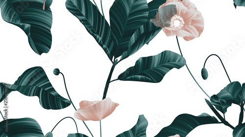 Seamless pattern, brown poppy flowers with green leaves on white background