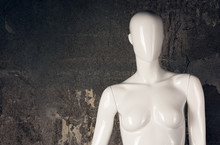 Part White Female Mannequin Closeup. The Head Without The Face And Chest