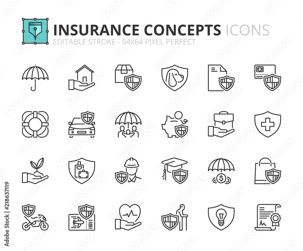 Fototapeta Outline icons about insurance concepts