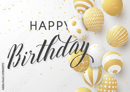 Happy Birthday Typography Design For Greeting Card Poster Or Banner With Realistic Golden Balloons