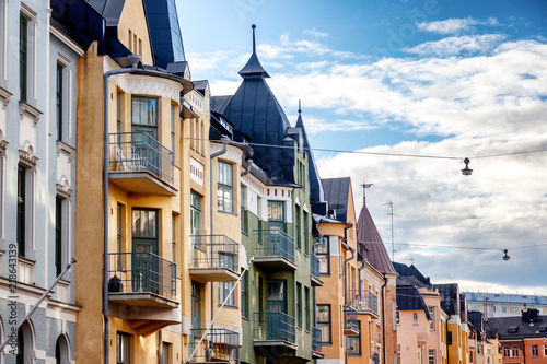Canvas Print Multicolored facades of buildings in Helsinki, the capital of Finland, the tradi