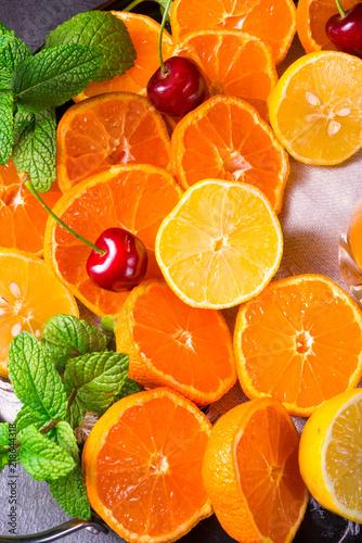 Fotografie, Obraz  freshly squeezed orange juice with ice in glass