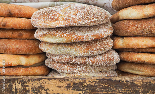 Traditional fresh Moroccan bread on a street market