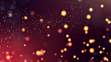 3d Render Of Abstract Golden Red Composition With Depth Of Field And Glowing Particles In Dark With Bokeh Effects. Science Fiction Microcosm Or Macro World Or Abstract Christmas Garlands In The Air.10