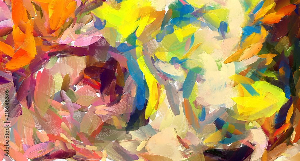 Fototapety, obrazy: Oil painting abstract background in fashion impressionism style. Hand drawn pattern for design work. Template for decor print products. Modern contemporary art. Splashes of paint. Soft brushstrokes.