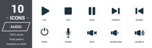 Audio Controls Icons Set. Premium Quality Symbol Collection. Audio Controls Icon Set Simple Elements. Ready To Use In Web Design, Apps, Software, Print.