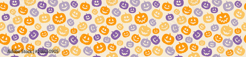 Wrapping paper with funny jack o lanterns. Vector.