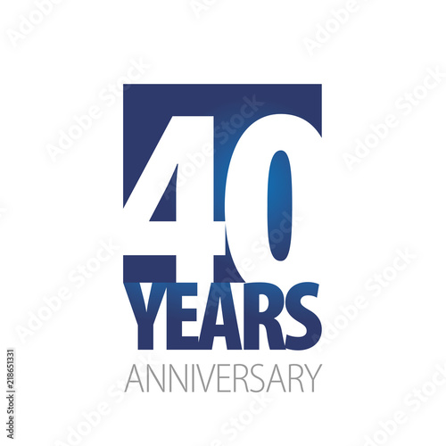 Billede på lærred 40 Years Anniversary blue white logo icon banner