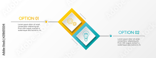 Layout of rhombus infographic with business icons. Vector.