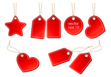 Vector Set Of Bright Red Price Tags On A Cord