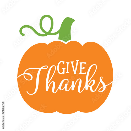 Pumpkin with text Give Thanks Canvas Print