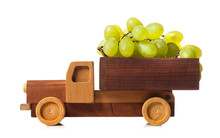 Wooden Truck Carries White Gra...