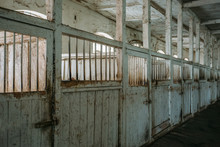 Inside Old Wooden Stable Or Barn With Horse Boxes, Corridor