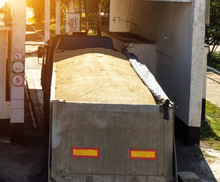 The Truck Loaded With Grain Gr...