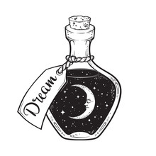 Hand Drawn Dream In Bottle Or ...