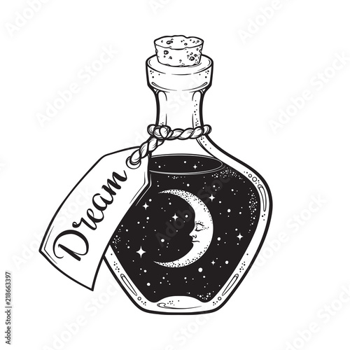 Hand drawn dream in bottle or wish jar with crescent moon and stars isolated. Sticker, print or tattoo design vector illustration.