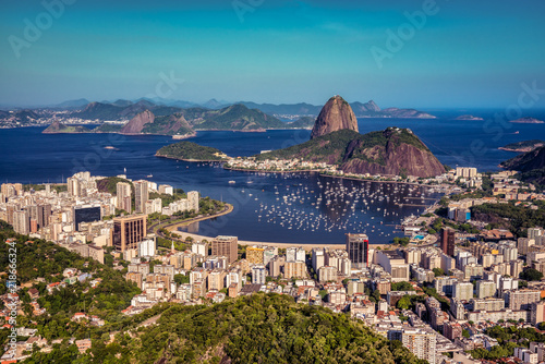 Botafogo Bay and Sugarloaf Mountain at sunset with skyline of Rio de Janeiro, Brazil
