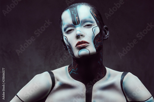 Sensual cyber woman with creative make-up Canvas Print