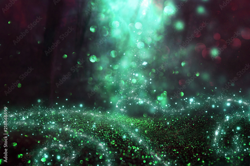 Fototapety, obrazy: Abstract and magical image of glitter Firefly flying in the night forest. Fairy tale concept.