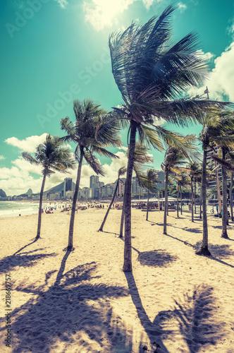 Copacabana Beach with palm shadows, Rio de Janeiro, Brazil
