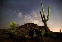A Starry Night Time Desert Lan...