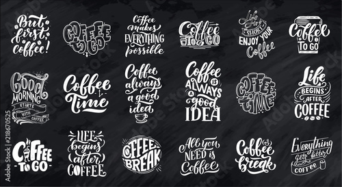 Set of Hand lettering quotes with sketches for coffee shop or cafe Wallpaper Mural